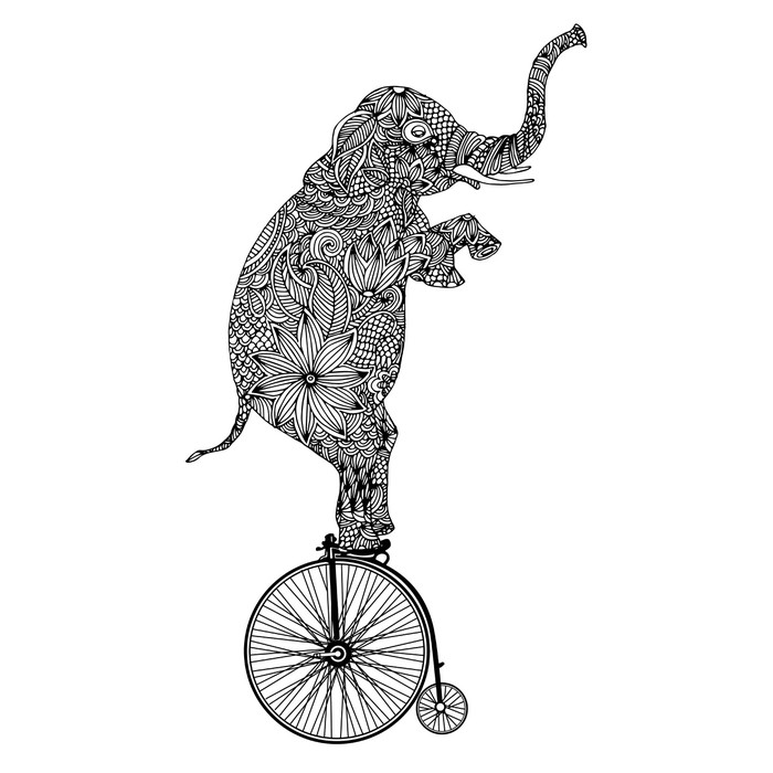 stylized fantasy patterned elephant on vintage bicycle wall mural