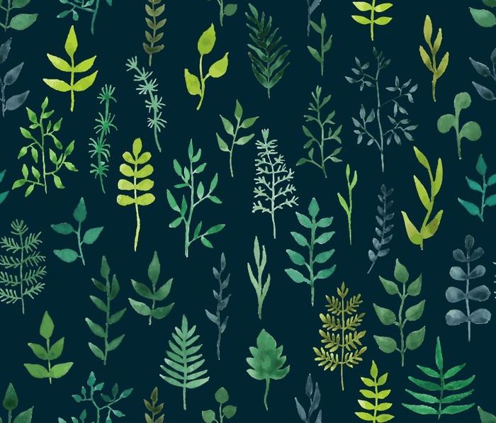 Fototapet av Vinyl Vector grön vattenfärg blommig seamless. - Grafiska resurser