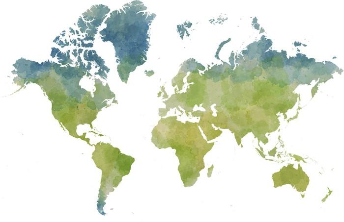 Carta da parati cartina mondo disegnata illustrata for Carta da parati cartina geografica