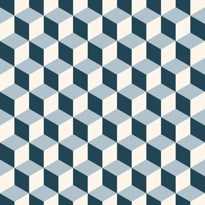 Pixerstick Sticker Vintage kubussen 3d patroon achtergrond. Retro vector patroon. - 3D