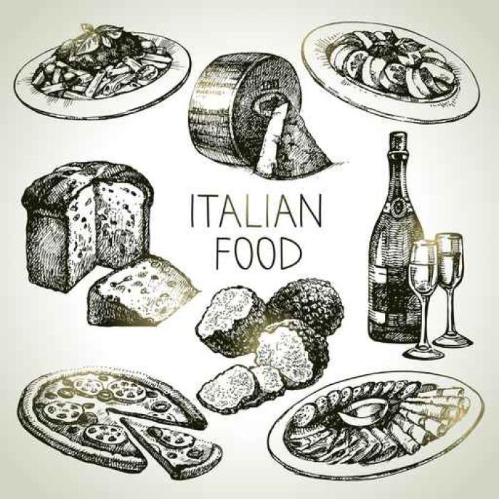 Fototapete Hand gezeichnete Skizze italienisches Essen set ...