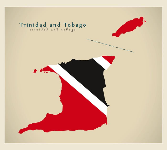 Fototapet Modern Karta Trinidad Och Tobago Fargad Tt Pixers
