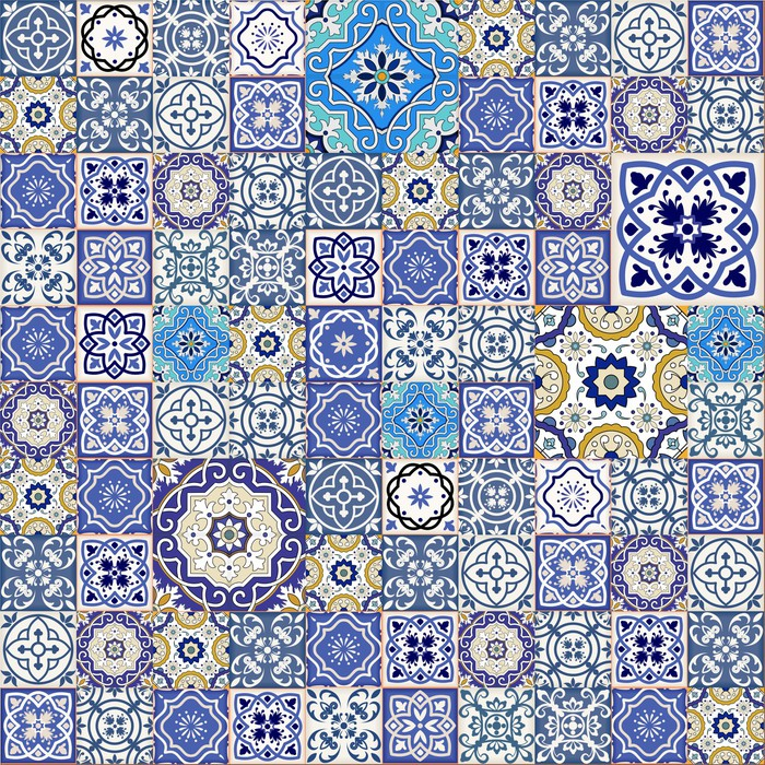 fototapete mega nahtlose patchwork muster aus bunten marokkanischen fliesen pixers wir. Black Bedroom Furniture Sets. Home Design Ideas