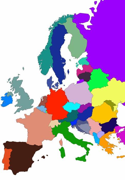 Vinylová Tapeta Barevné ilustrace mapy Evropy na bílém pozadí - Doplňky a věci