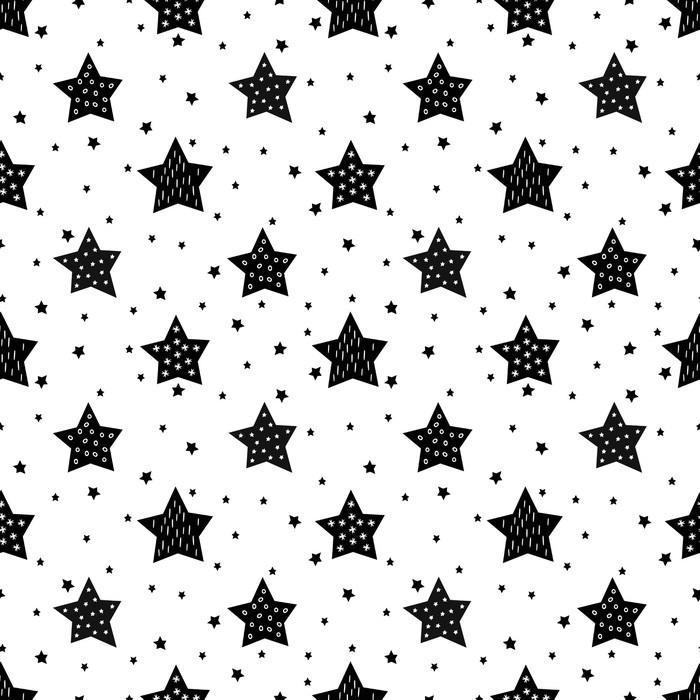 Papier peint motifs seamless noir et blanc avec mignon toiles pour les enfants b b vecteur - Papier peint blanc et noir ...