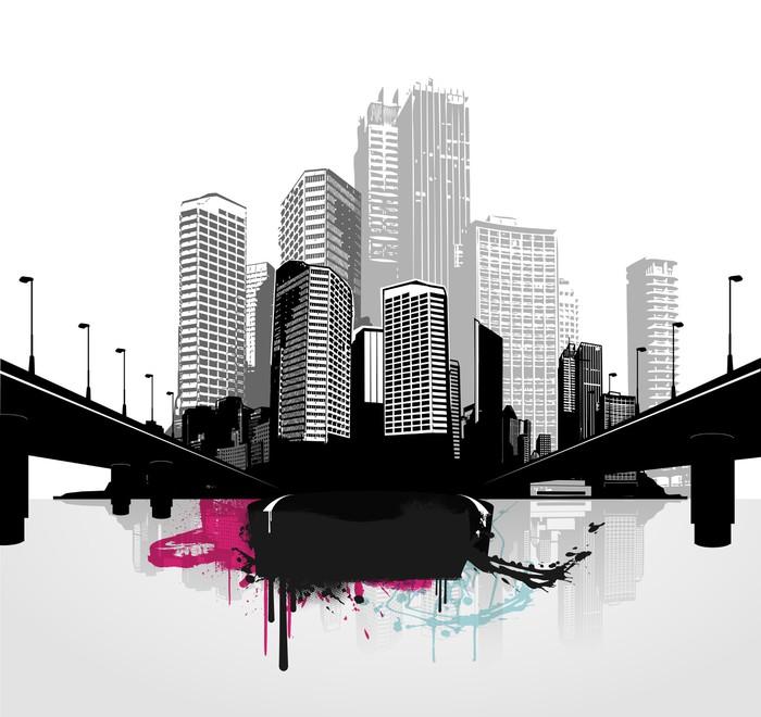 Vinilo Pixerstick Negro y ciudades blancas panorámicas. Vector art ...