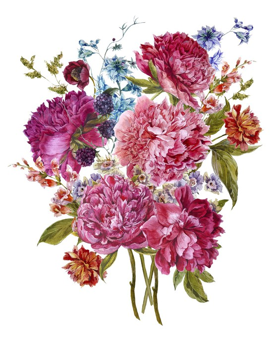 Watercolor Floral Bouquet with Burgundy Peonies in Vintage Style ...