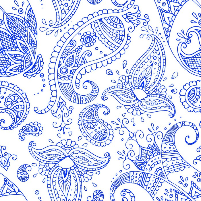 Navy Blue Paisley Orient Seamless Pattern On The White Background Vinyl Wall Mural