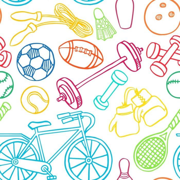 Vinylová Tapeta Bezproblémové vícebarevné sportovní vybavení - Sport