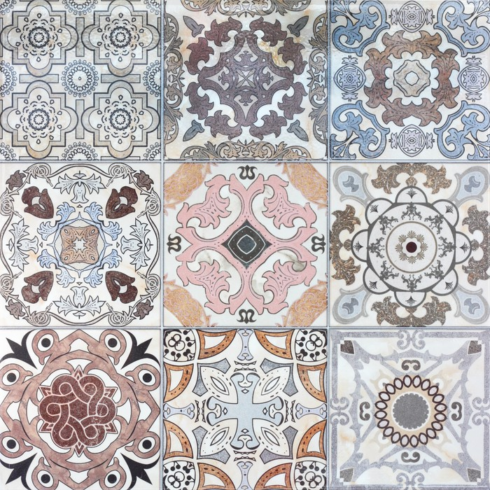 Beautiful Old Ceramic Tile Wall Patterns In The Park Public Vinyl Mural Istaging