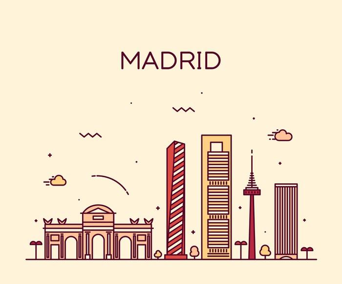 Vinylová Tapeta Madrid skyline moderní vektorové ilustrace lineární - Památky