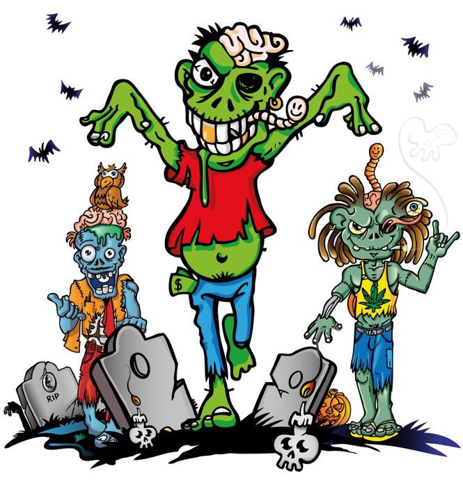 Carta da parati set cartone animato zombie pixers