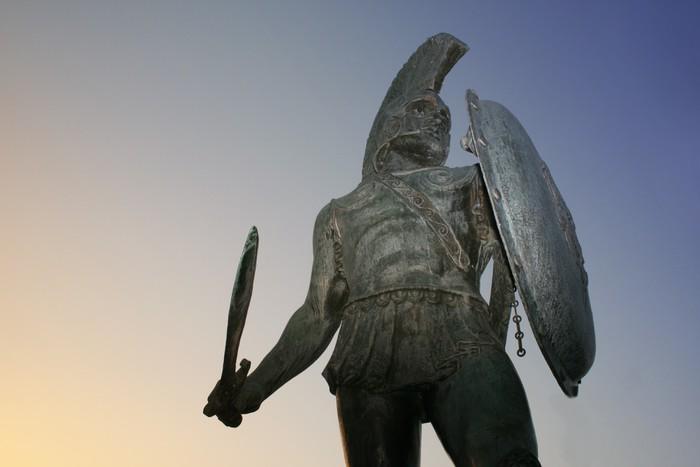 Sparta, Greece.  Statue of king Leonidas at  Sparta, Greece