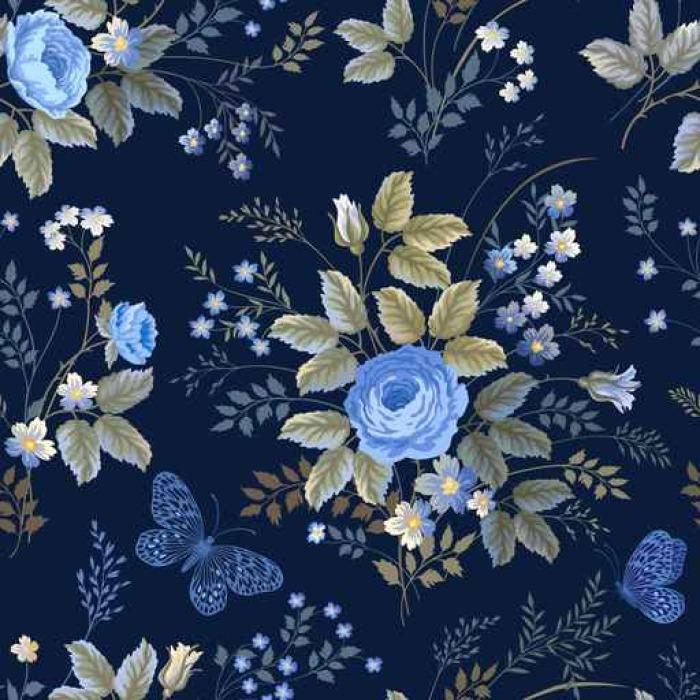 papier peint motif floral sans couture avec des roses bleues sur fond bleu fonc pixers. Black Bedroom Furniture Sets. Home Design Ideas