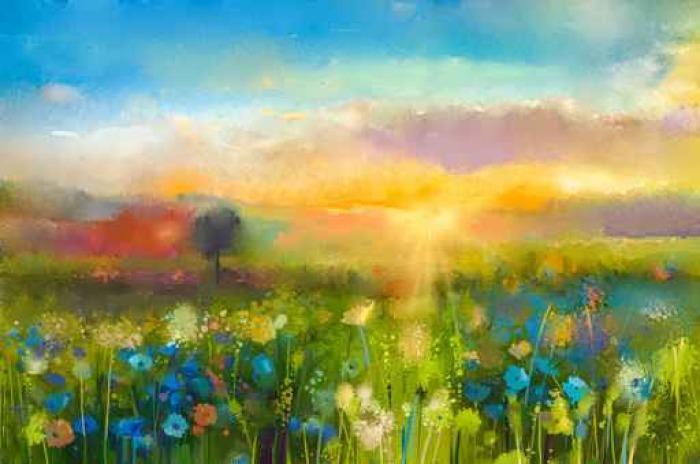Quadro su Tela Pittura ad olio fiori di tarassaco, fiordaliso ...