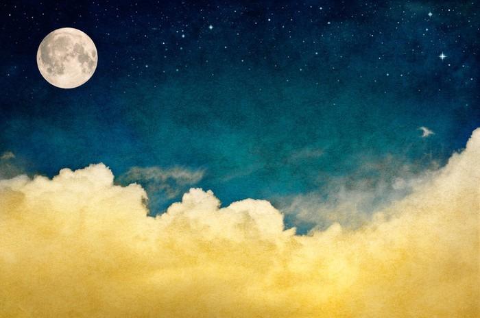 Vinylová Fototapeta Full Moon a oblaky - Vinylová Fototapeta