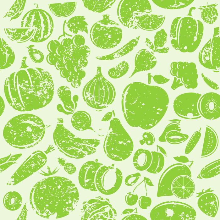 Vinylová Tapeta Ovoce a zelenina retro stylu výstřední bezešvé vzor - Zelenina