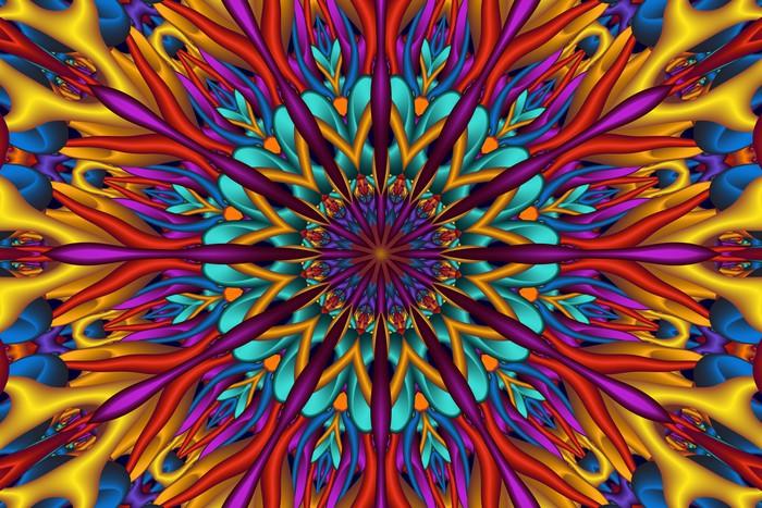 Colorful Glossy 3D Fractal Mandala Vinyl Wall Mural