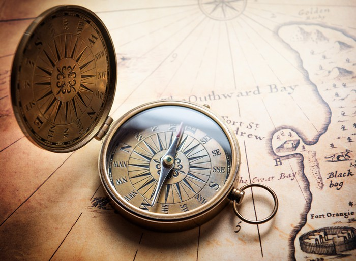 Old Compass On Vintage Map Retro Stale Wall Mural
