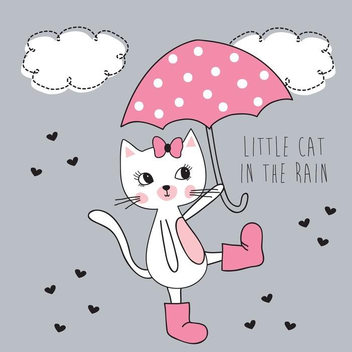 Vinylová Tapeta Malá kočka v dešti vektorové ilustrace - Zvířata