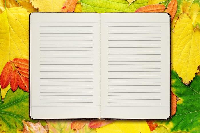 Vinylová Tapeta Otevřít diář na podzimní listí pozadí - Pozadí