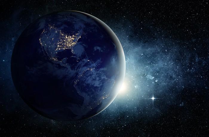 Vinylová Tapeta Země a galaxie. Prvky tohoto obrázku zařízeném NASA. - Meziplanetární prostor