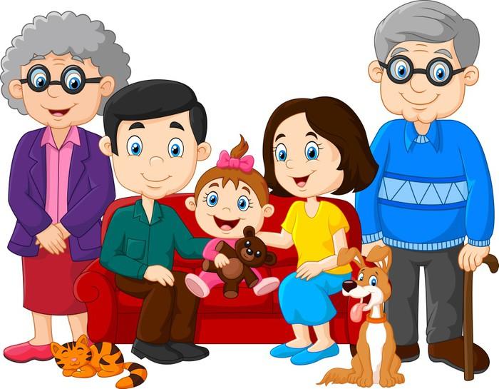Vinilo Pixerstick Familia Feliz De Dibujos Animados