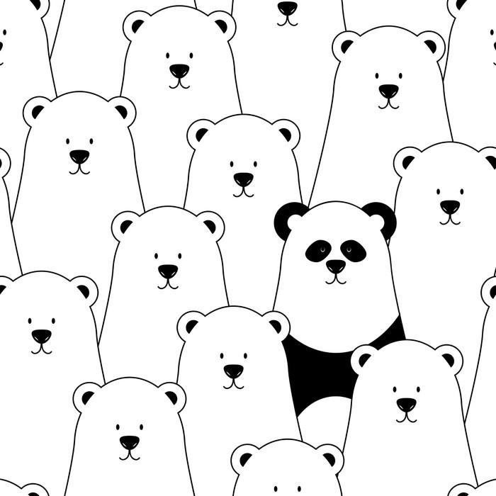 Carta da Parati in Vinile Vector seamless con gli orsi polari bianchi e Panda - Per cameretta