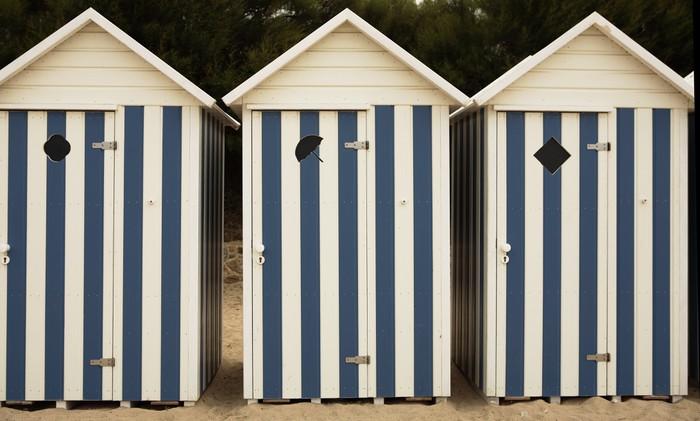 Tableau sur Toile Vacances à la plage - cabine de plage - iStaging