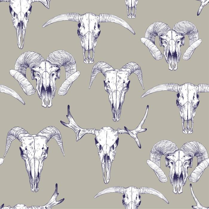 Vinylová Tapeta Bezešvé vzor s lebkami jelen, býk, kozy a ovce. Kresba lebek. Mystické pozadí pro svůj design. - Zvířata