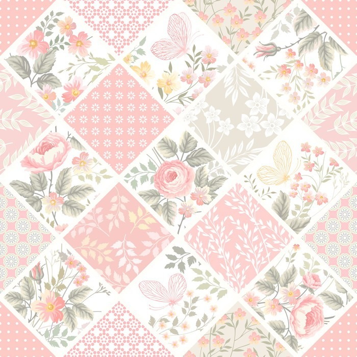 Seamless Patchwork Pattern With Roses And Butterflies In