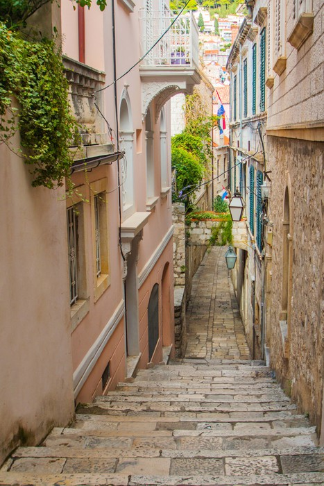 Narrow Street And Stairs In The Old Town In Dubrovnik, Croatia Vinyl Wall  Mural