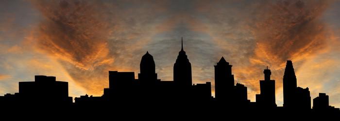 Vinylová Tapeta Philadelphia panorama při západu slunce s krásnou oblohu ilustrační - Nebe