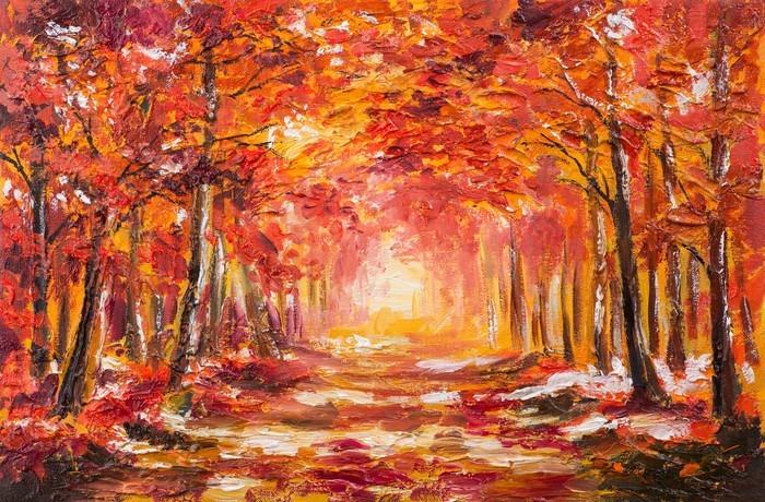 tableau sur toile peinture l 39 huile paysage for t color e d 39 automne pixers nous vivons. Black Bedroom Furniture Sets. Home Design Ideas