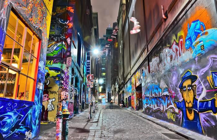Nálepka Pixerstick Pohled na barevné graffiti kresby na punčochář Lane ve městě Melbourne - Umění a tvorba