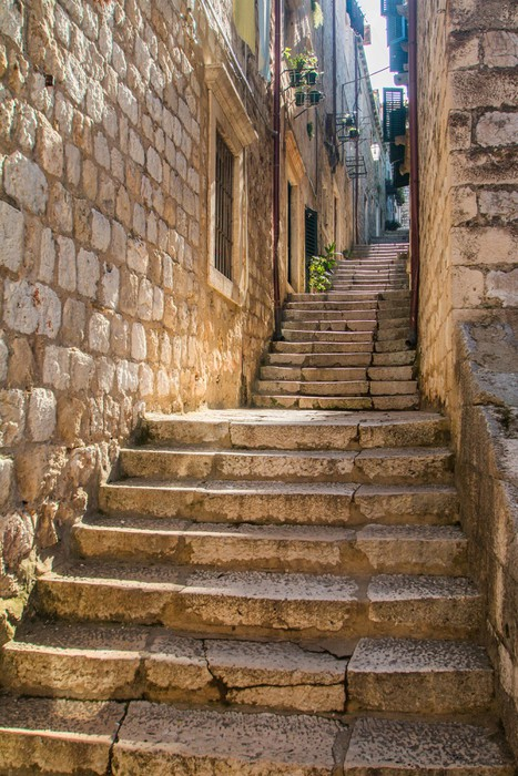 Narrow Street And Stairs In The Old Town In Dubrovnik, Croatia,  Mediterranean Ambient Vinyl