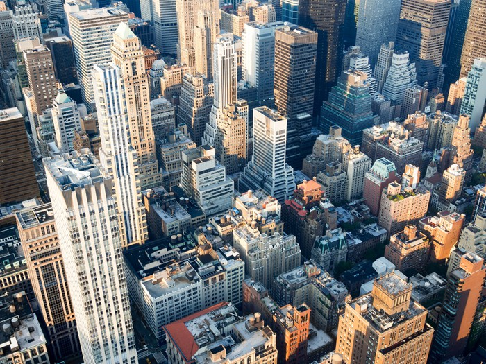 Aerial view of midtown New York City Wall Mural Pixers We live