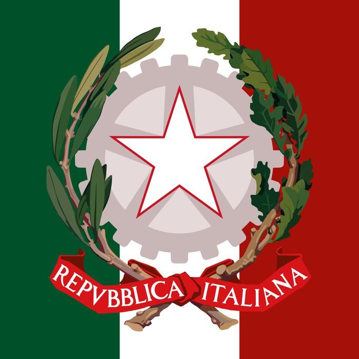 Italian Republic Coat Of Arm And Flag Wall Mural Pixers We Live