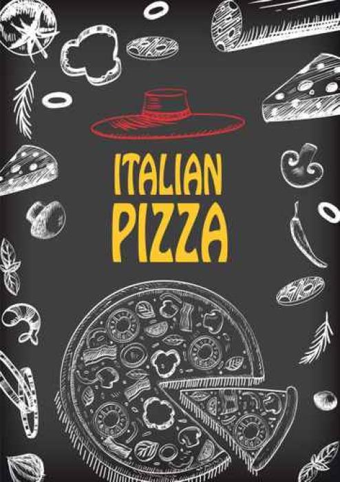 Vinilo Pixerstick Pizza italiana con el folleto de materia prima ...