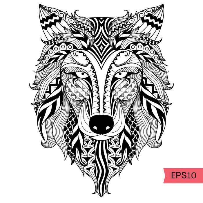 Carta da parati particolare lupo zentangle per colorare for Carta da parati particolare
