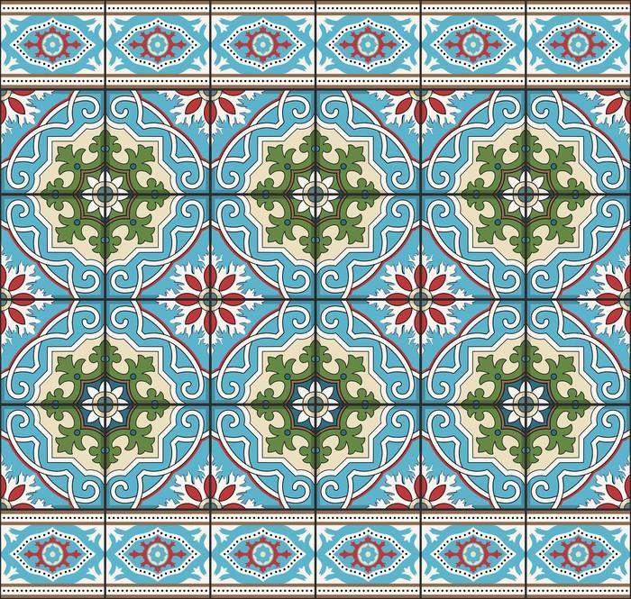 fototapete nahtlose muster von fliesen und grenze marokkanisch portugiesisch azulejo. Black Bedroom Furniture Sets. Home Design Ideas