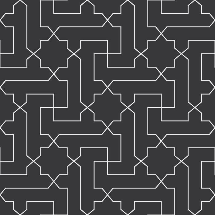 Papier peint vinyle Seamless croix et motif vecteur étoile diagonale arabe classique en noir et blanc - Ressources graphiques