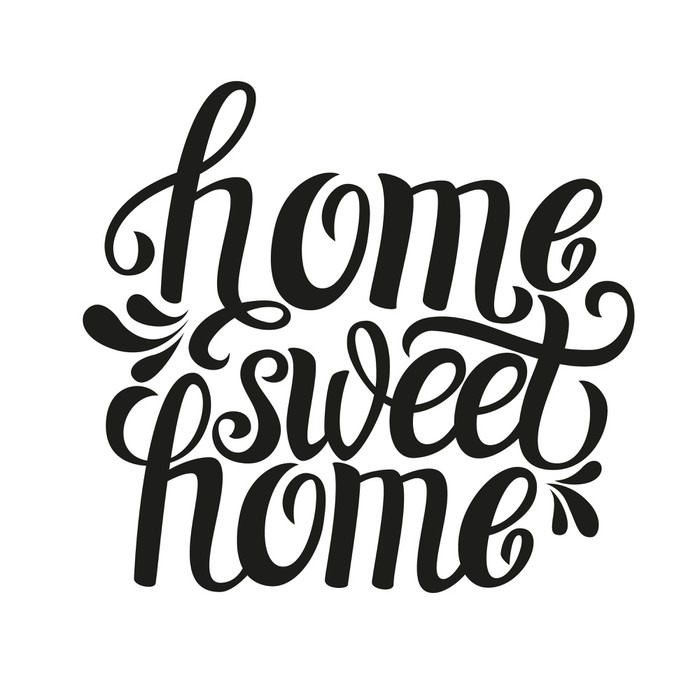 Hand Lettering Typography Poster Home Sweet Home Sticker