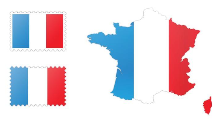 Fransa Bayrağı Ve Harita Paketi çıkartması Pixerstick Pixers