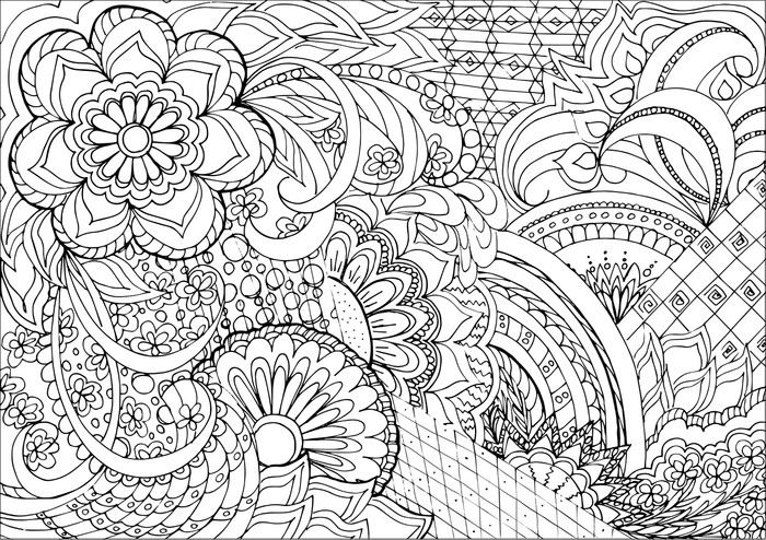 Zentangle Flowers And Mandalas Vinyl Wall Mural