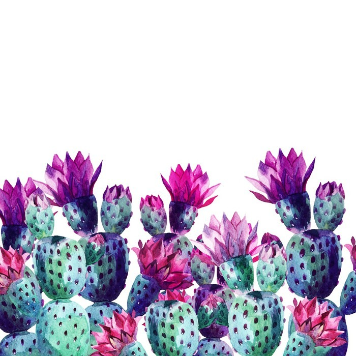 papier peint aquarelle cactus pixers nous vivons pour. Black Bedroom Furniture Sets. Home Design Ideas