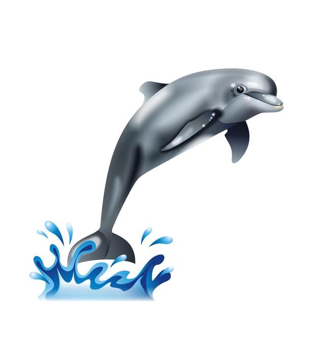 Vinylová Tapeta Friendly hledá roztomilé delfín v skoku - Nálepka na stěny