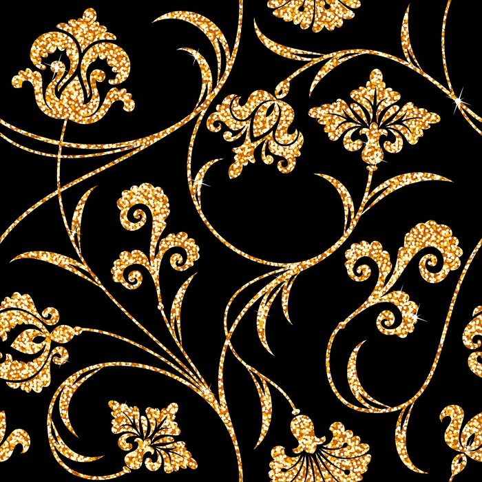 Floral Golden Wallpaper Pixerstick Sticker