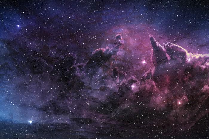 Pixerstick Aufkleber Lila Nebel und kosmischen Staub in Sternfeld - Weltall
