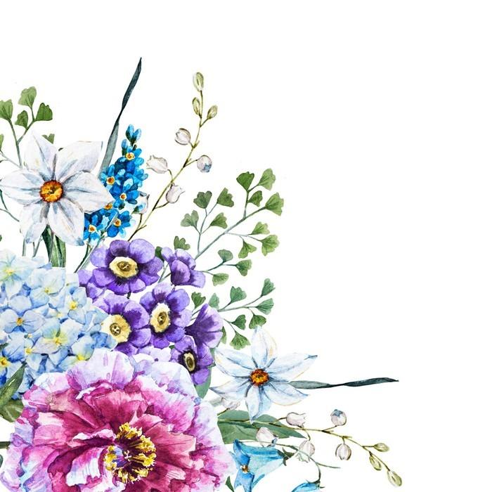 Trittico fiori disegnati a mano acquerello pixers for Fiori disegnati